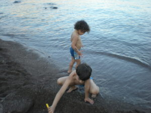life turning point on Patmos-children playing on beach