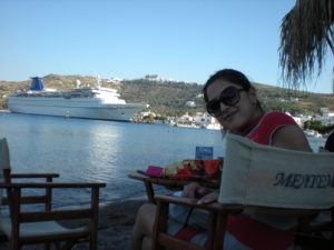 life turning point on Patmos-dina al hidiq zebib sitting by beach
